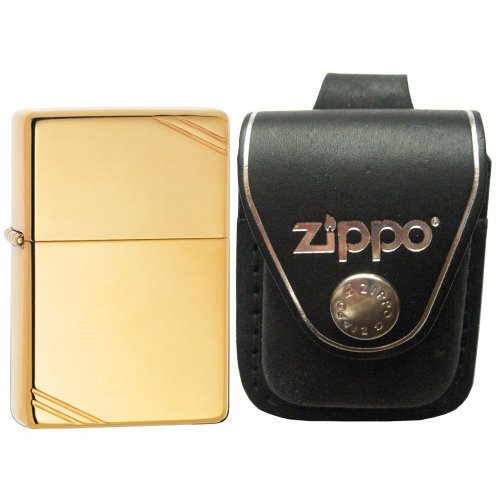 Vintage High Polish Brass Lighter - Zippo 270 Vintage High Polish Brass Slashes Windproof Lighter with Zippo Black Leather Loop Pouch