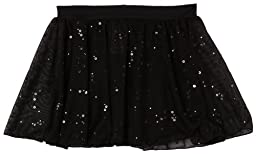 Capezio Little Girls\' Pull-On Sequined Skirt, Black, Small (4-6)