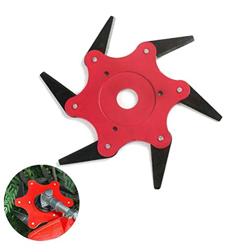 Neepanda Outdoor Trimmer Head, 6 Steel Razor Trimmer Replacement, 6T Trimmer Head Cutter Blade, 65Mn Lawn Mower Grass Weed Eater Brush Cutter Tool, Brush Cutter Head for String Trimmer(Red,1 Pack)