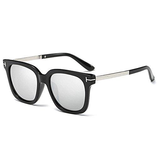 Lunettes Pc Miroir soleil Hommes Conduite Pare Mode de Hommes Uv400 Argent Lentille Rétro fzTpqw1