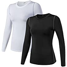 WANAYOU Women's Compression Shirt Dry Fit Long Sleeve Running Athletic T-Shirt Workout Tops
