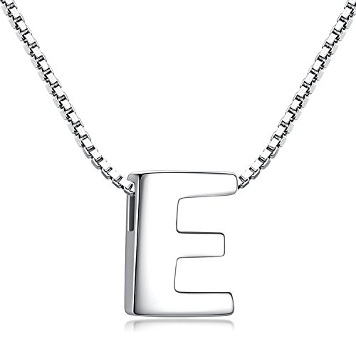 - Candyfancy 925 Sterling Silver Alphabet Personalized A-Z Letter Initial Pendant Necklace Women with 18