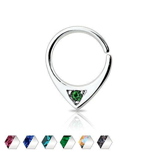 316L Surgical Steel Single Gem Abstract Freedom Fashion Septum Ring (Green)