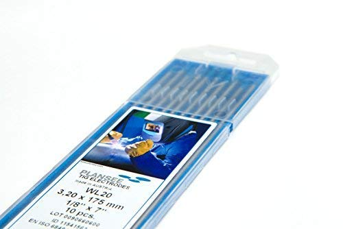 Lot de 10 WIG électrodes Wolfram WL20 Bleu Ø3,2 x 175 mm Aiguilles (sans thorium)