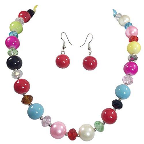 (Gypsy Jewels Fun Multi Color Beaded Necklace & Earrings)