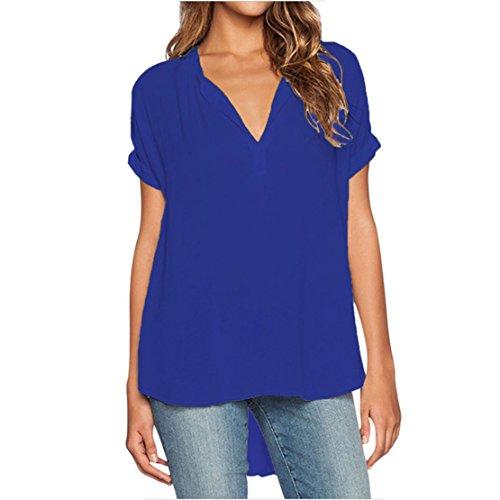 Irrégulière Bleu V Top Pure Chemise T Chiffon Col Acvip Femme Couleur shirt Oa1qUBB