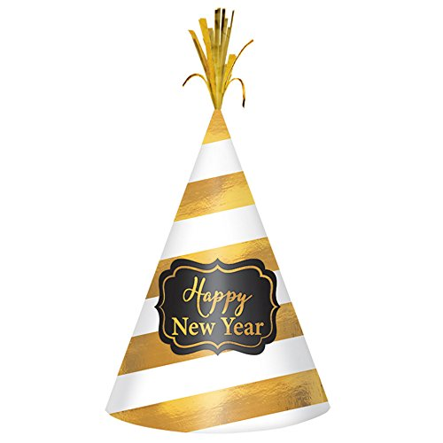 New Year's Gold Stripe Cone Hat ()