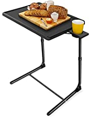 LORYERGO TV Table - TV Tray,Foldable Couch Table, Food Tray Tables with 6 Height & 3 Tilt Angle, TV Table for Eating with Cup Holder, Folding Laptop Table for Bed & Sofa (Black)
