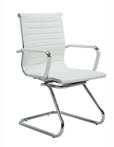 Wahson Ribbed Leather Office Guest Chair with Arms, Quality Plating, Sled Base, White
