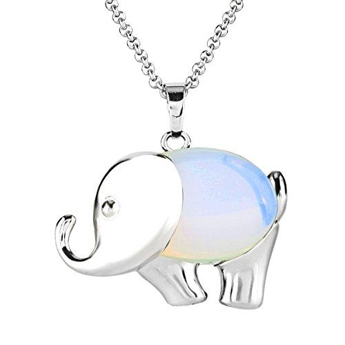 BEADNOVA Elephant Gemstone Necklace Stainless