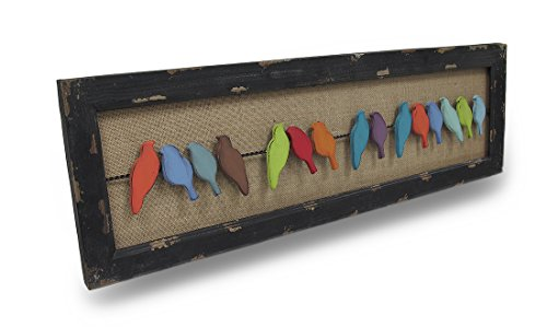 Metal Art Wire (Zeckos Colorful Distressed Finish Birds On A Wire Wood And Metal Wall Art)
