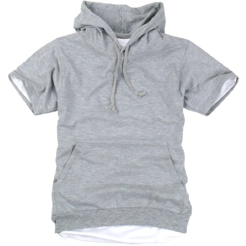 ililily Canvas Short Sleeve Pullover Hooded Cotton Lightweight ...