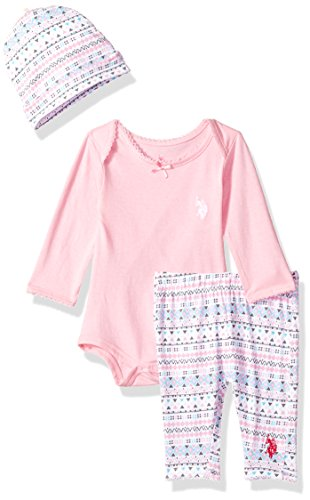 U.S. Polo Assn. Baby Girls' Creeper, Bib or Hat and Legging Set, Prism Pink 6/9 ()