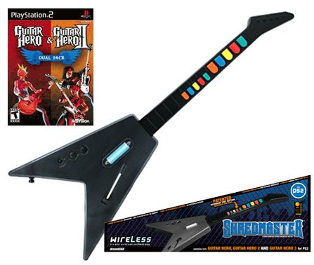 PS2 Guitar Hero 1 & 2 Dual Pack + PS2 Shredmaster Wired / Wireless Rechargeable Guitar (Carbon Fiber