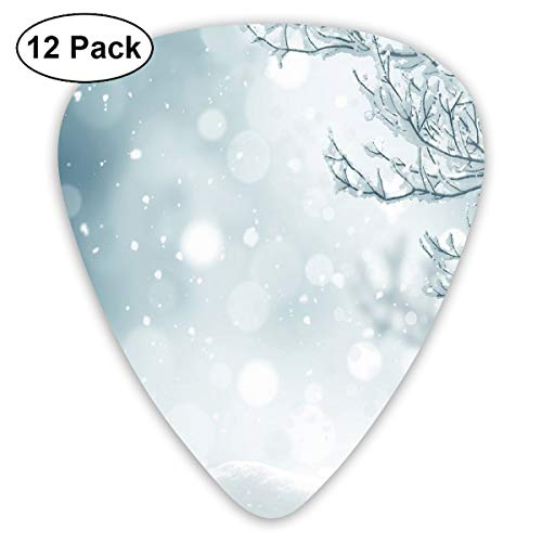 - Guitar Picks - Abstract Art Colorful Designs,Christmas Themed Image Snow And Frosted Tree Snowflakes Winter Season Illustration,Unique Guitar Gift,For Bass Electric & Acoustic Guitars-12 Pack