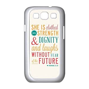diycover Samsung Galaxy S3 I9300/I9308/I939 Case - Christian Theme - Bible Verse Proverbs 31:25 - Durable and lightweight Cover Case