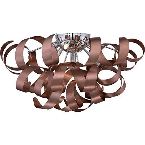 (Quoizel RBN1622SG Ribbons Modern Flush Mount Ceiling Lighting 5-Light, Xenon 200 Watts, Satin Copper (11