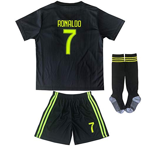 FCM 2018/2019 New #7 Cristiano Ronaldo Kids Third Soccer Jersey & Shorts Youth Sizes (Third (New Juve), 8-9 Years Old)