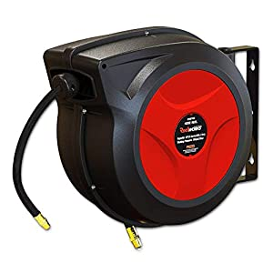 Ironton Auto Rewind Air Hose Reel Max 300 PSI Hybrid Polymer Hose x 50ft with 3//8in