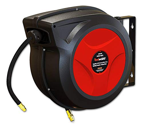 REELWORKS Air Hose Reel Retractable Spring Driven Polypropylene Heavy Duty Industrial 3/8