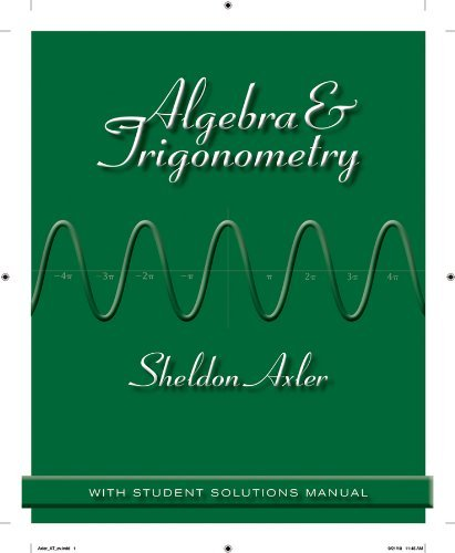 Algebra and Trigonometry by Sheldon Axler (2011-03-08)