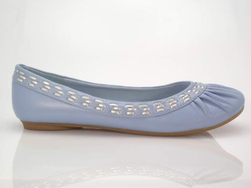 Brieten Womens New Blue Ballet Flat Slip Shoes Toe Comfort Round on ZUBdAfBxqw