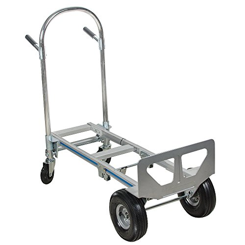 Hand Truck 770lb 4 Wheeler Multi-Position Hulti-Position Heavy Duty Folding Hand Truck and Dolly Hand Truck 2 in 1 Aluminum with 2 Wheel Dolly and 4 Wheel Cart ()