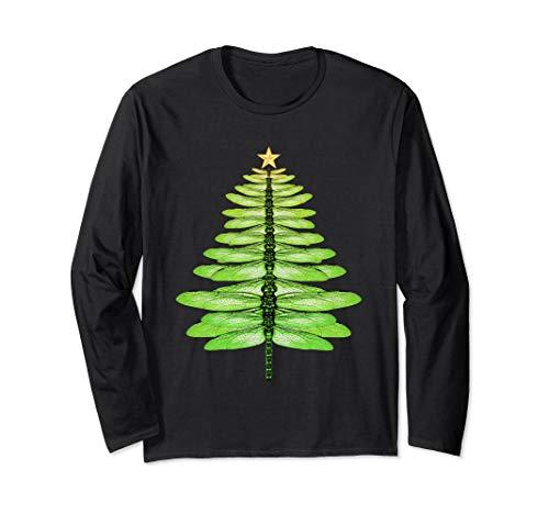 Dragonfly Christmas Tree Natural Long Sleeve shirt