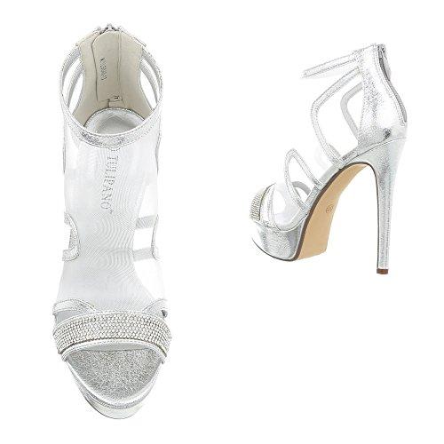 Ital-Design High Heel Sandaletten Damenschuhe Pfennig-/Stilettoabsatz Heels Reißverschluss Sandalen & Silber K1L9848-13