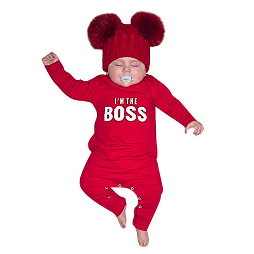 SUNBIBE Newborn Jumpsuit,Infant Baby Boys Long Sleeve Letter Print I'm The Boss Romper Jumpsuit Clothes Outfits (Age:0-6 Months, Red)