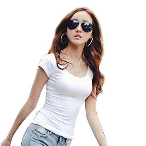 TOPUNDER 2018 Women Slim Fit Cotton Tops Crew Neck Short Sleeve T-Shirt Casual