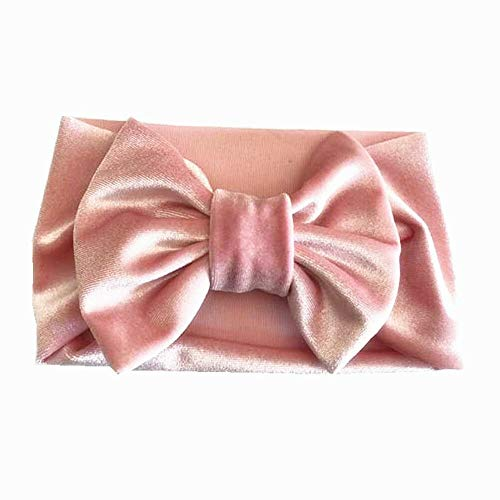 - Soft Baby/Girls Kids Toddler Bow Hairband Headband Turban Big Knot Head-Wrap (Color - Pink)