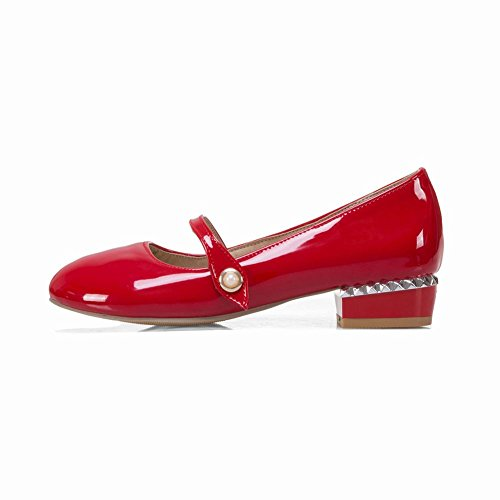 Carolbar Women's Sweet Lovely Mid Heel Patent Leather Court Shoes Red aNc91t
