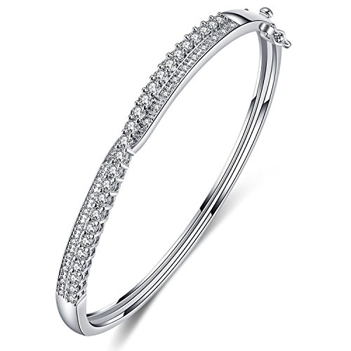 Designer Style Cubic Zirconia Bracelet (Foruiston Silver Tone Crossover Diamond Accent Cubic zirconia Bangle Bracelet for Women, 7.25'')