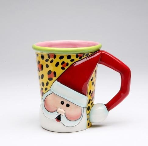 Set of Four 4.25 Inch Red, White, Green and Leopard Print Santa Mugs ()