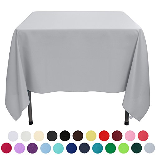 Square Polyester Tablecloth (VEEYOO 70 inch Square Solid Polyester Tablecloth for Wedding Restaurant Party, Silver)