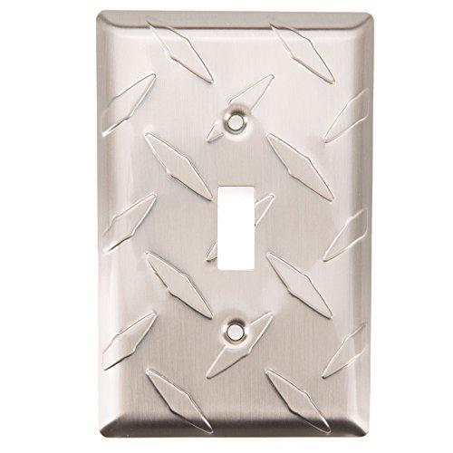 Brainerd Diamond Plate 1-Gang Satin Nickel Single Toggle Wall Plate ()