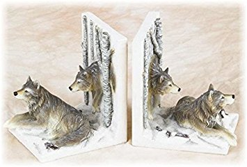PS 5.5 Inch Brown and White Sitting Wolf Pack Design Collectible - Bookends Sitting