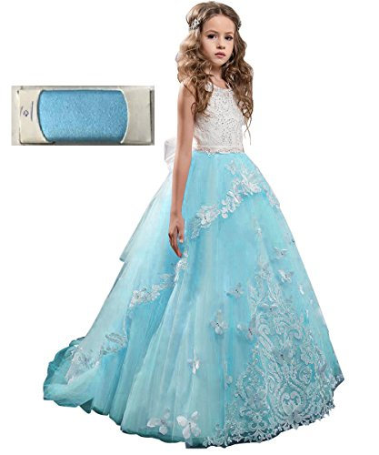 Flower Girl Dress Kids Lace Beaded Pageant Ball Gowns (Size 8, Blue)]()
