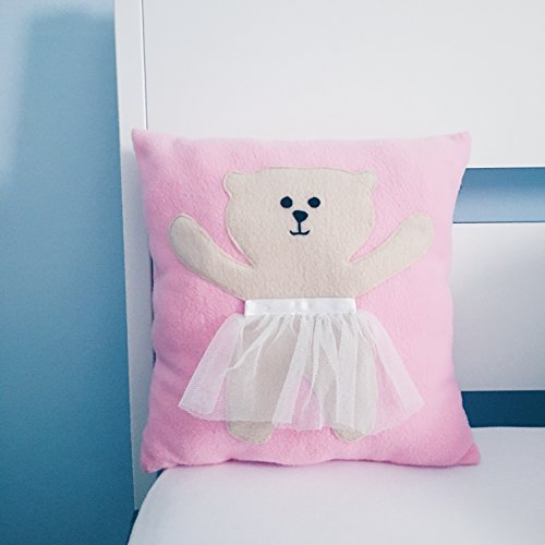 Baby Crib Decor Pillow with a bear in a skirt in lovely pink