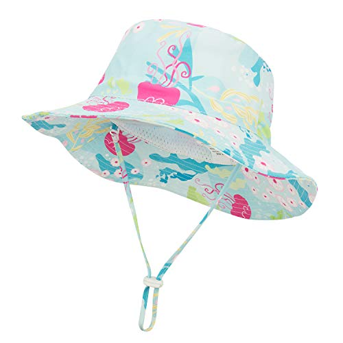 (Baby Hats for Sun Protection Kids Toddler Summer Buket Sun Hat UPF 50+ Wide Brim Breathable Fishermen Hats for Boys Jellyfish 18.9