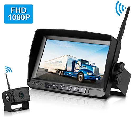 ZSMJ FHD 1080P Digital Wireless Backup Camera with 7'' Monitor Support Dual/Quard Split Screen for Trailers,RVs,Trucks,Campers High-Speed Observation System Guide Lines On/Off (Best Rv Wireless Rear View Camera)