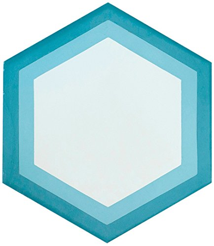 Rustico baldosas y piedra rts23hexagonal cemento Pack de azulejos de 13, 20.3cm X 9, color azul y blanco