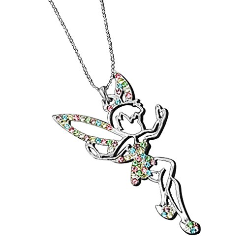 MGStyle Pendant Necklace For Men Or Women - Tinkerbell Angel Peri Fairy - Silver Tone - Rhinestone & Alloy with Deluxe Gift Box (Bell Figural)
