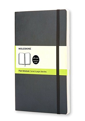 Moleskine Classic Notebook, Large, Plain, Black, Soft Cover (5 x 8.25) (Classic Notebooks) (Peach Printing Paper)