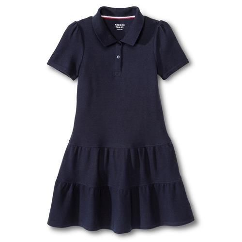 French Toast Girls' Ruffled Pique Polo Dress - Navy - Small (6/6X) ()