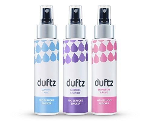 duftz® Bundle 3 Sorten WC Geruchsblocker für den Toilettengang, Mindestens 300 Anwendungen, 3 x 75ml,