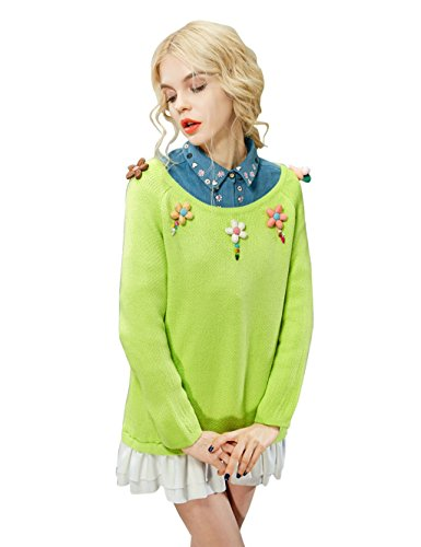 Elf Sack Womens' Spring Pullover Sweater 3D Flowers Floucing Hem X-Large Size Yellow