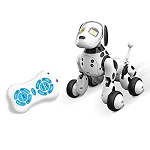 Kingspinner Toys RC Smart Dog Dance Walking Remote Control Robot Dog Electronic Pet Educational Kids Toy Funny Interactive Puppy-Control Distance: About 50 Feet-Function: Forward, Backward, Sing, etc