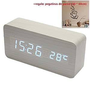 Malloom® madera temperatura Suena control Escritorio electrónica LED reloj despertador digital (blanco y azul): Amazon.es: Hogar